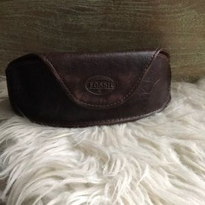 Fossil Leather Eyeglass Case Brown